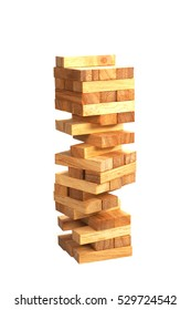 Blocks wood game (jenga) with copy space.
