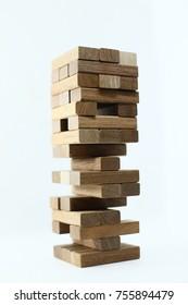 Blocks wood game (Jenga) with isolated background.