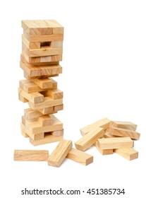 blocks wood game (Jenga) on white background.