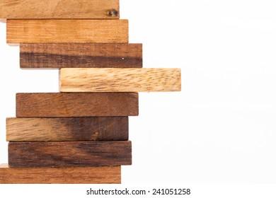 Blocks of wood isolated on white background.