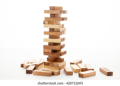 Blocks of wood isolated on white background, strategy game as a business plan for team work
