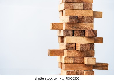 Blocks wood tower. alternative risk concept, Concept of education, risk management, development, plan and strategy in business, Risk To Make Business Growth