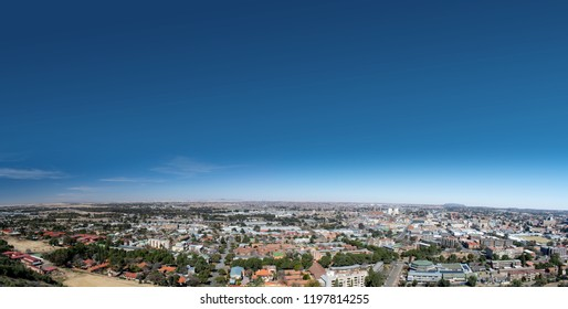 Bloemfontein, South Africa - August 12, 2018: Beautiful panoramic view of the city of Bloemfontein in South Africa