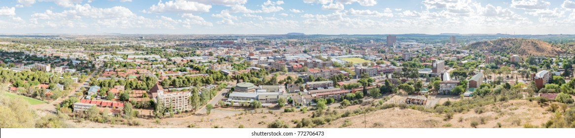 BLOEMFONTEIN, SOUTH AFRICA, DECEMBER 11, 2016: A Panorama of the Central Business District in Bloemfontein, as seen from Naval Hill