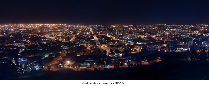 BLOEMFONTEIN, SOUTH AFRICA, DECEMBER 14, 2016: A night time panorama of the Central Business District in Bloemfontein, as seen from Naval Hill