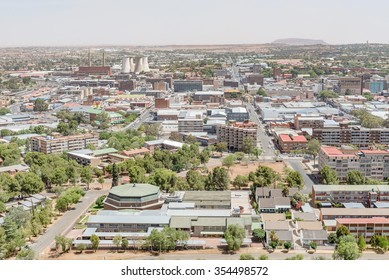 BLOEMFONTEIN, SOUTH AFRICA, DECEMBER 21, 2015: View of part of the central business district of Bloemfontein as seen from Naval Hill.