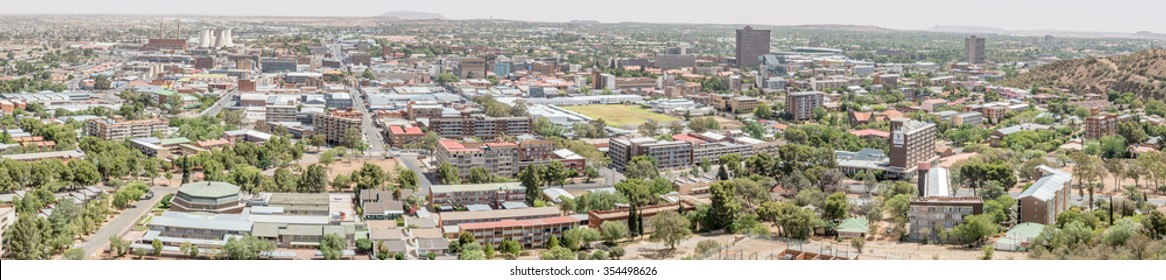BLOEMFONTEIN, SOUTH AFRICA, DECEMBER 21, 2015: Panorama of the central business district of Bloemfontein as seen from Naval Hill.