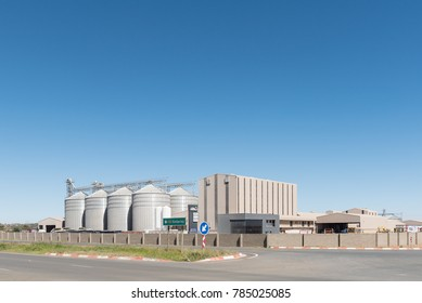 BLOEMFONTEIN, SOUTH AFRICA, JANUARY 1, 2017: iTau Milling, a corn, maize and animal feed product provider.  21 silos are at the factory in Kwaggafontein, a suburb of Bloemfontein