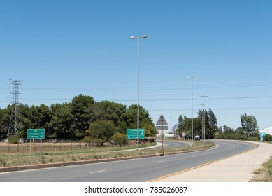 BLOEMFONTEIN, SOUTH AFRICA, JANUARY 1, 2017: The N8-road to Kimberley, in Kwaggafontein, a suburb of Bloemfontein