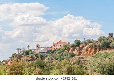 BLOEMFONTEIN, SOUTH AFRICA - JANUARY 15, 2012: A luxury home on a hill in Bloemfontein, reminiscent of a castle.