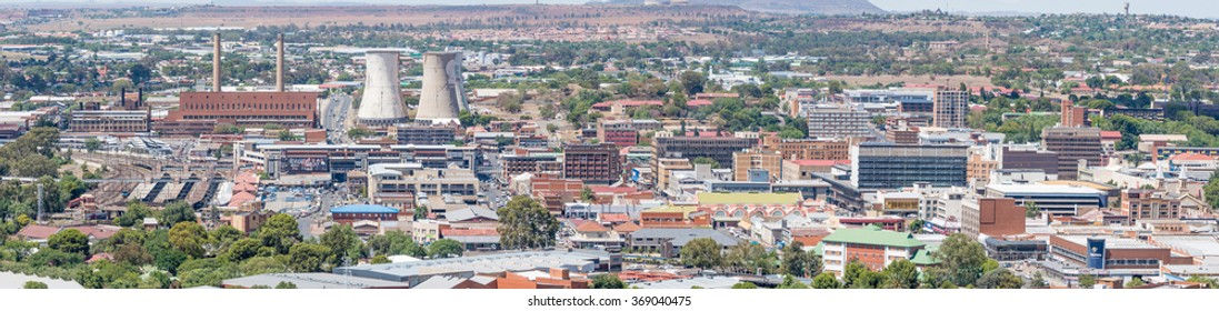 BLOEMFONTEIN, SOUTH AFRICA, JANUARY 6, 2016: A Panorama of part of the Central Business District in Bloemfontein, as seen from Naval Hill