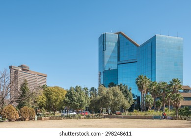 BLOEMFONTEIN, SOUTH AFRICA - JULY 19, 2015: The Bram Fischer Building (local municipality) on the right and the Provincial Government Building, which houses a rotating restaurant on top, on the left