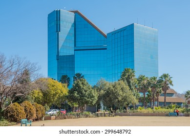 BLOEMFONTEIN, SOUTH AFRICA - JULY 19, 2015: The Bram Fischer Building (local municipality building), also called the glass palace, was inaugurated in 1992
