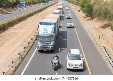 BLOEMFONTEIN, SOUTH AFRICA - OCTOBER 30, 2017: Protestors disrupting traffick on the N1-road at Bloemfontein in protest against farm attacks in which more than a 1000 farmers, were murdered since 2004