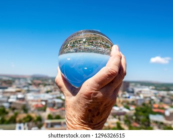 Bloemfontein, South Africa through a solid glass orb.