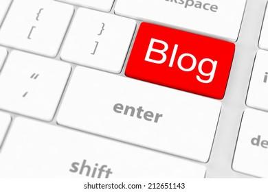 blog blogger or internet blogging concept with key
