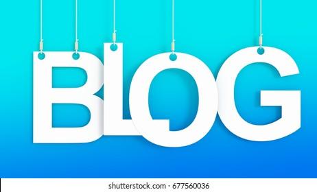 Blog hanging Letters over blue background 3D rendering