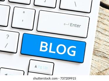 Blog inscription on Computer white keyboard