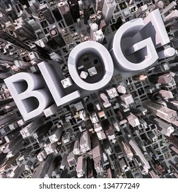 Blog text in a 3d city aerial view