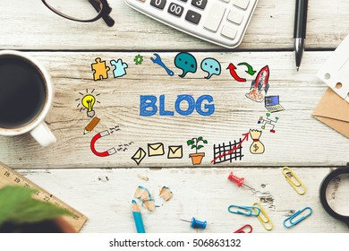 blog text on working table