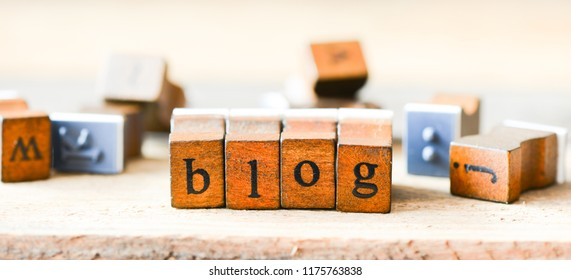 BLOG text wooden letters.