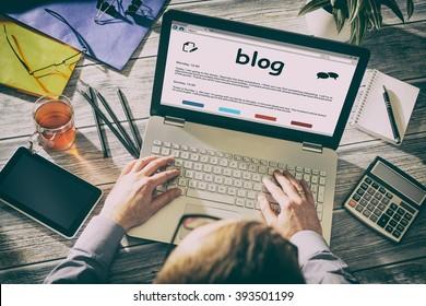 Blog Weblog Media Digital Social Dictionary Online Concept - Stock Image