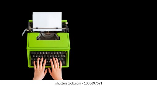 Blog wide header with typewriter isolated on black background
