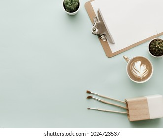 Blogger Pastel Background With Coffee Cup. Flat lay