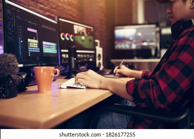 Blogger or vlogger working editing video footage job of the content creator