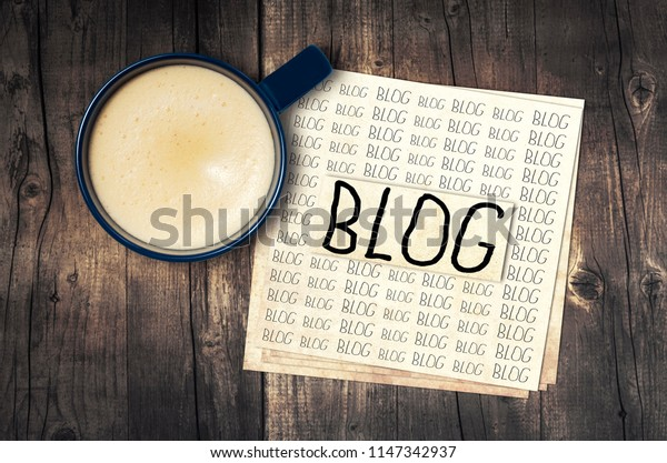 blogging concept with cup of espresso coffee