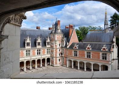 Blois / France - August 12, 2012: view of Blois castle yard, Blois, Loire Valley, France