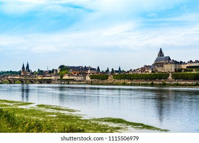 Blois, France: Landscape of Blois medieval city seen over the Loire river.