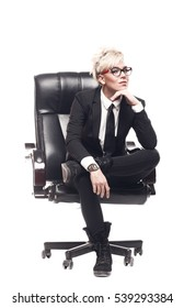 Blond beautiful business lady in white shirt eyeglasses black su
