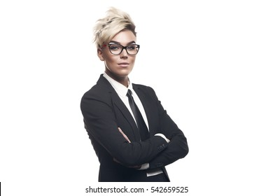 Blond beautiful business lady in white shirt eyeglasses black suit and black tie