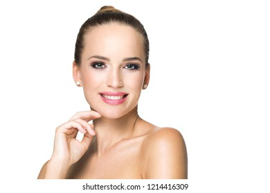 Blond beauty in makeup isolated on white background.