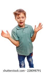 blond boy opened his arms surprised isolated on white background