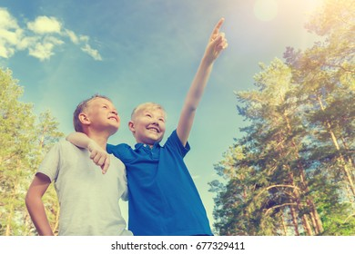 Blond boy pointing his hand up to his friend in the forest, sunny