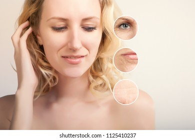 blond caucasian woman demonstrating skin lifting procedure, white background