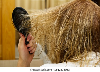 blond combing wet and tangled hair. Young woman combing her tangled hair after shower, close-up.