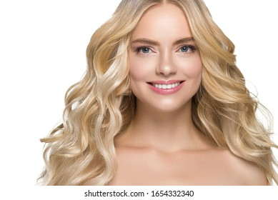 Blond curly wman long hair beauty natural make up female beautiful