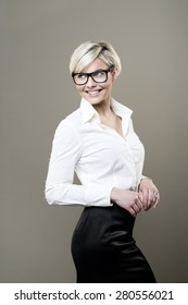 Blond girl with glasses