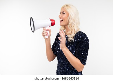 blond girl with a loudspeaker in hand screaming about discounts sideways on a white background