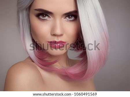 Blond Girl Pink Ombre Bob Short Stock Photo Edit Now 1060491569