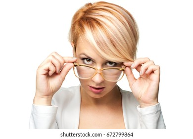 blond girl with short hair and vintage glasses