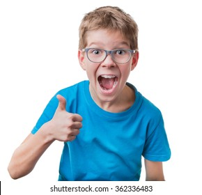 Blond hair boy in glasses showing thumbs up gesture, isolated on white background
