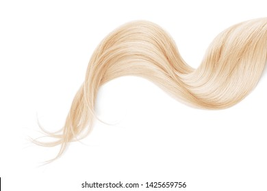 Blond hair isolated on white background. Long wavy ponytail