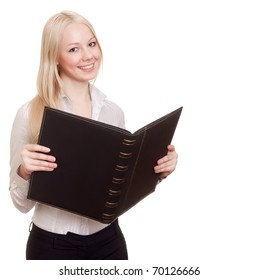 Blond happy businesswoman with black folder isolated on white