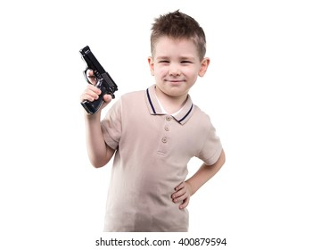 Blond little boy with the gun