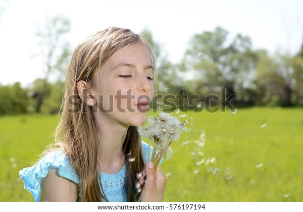 blond  little girl blowing dandelions
