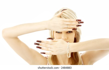 blond with long nails over white background